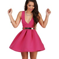 Sale- Fuchsia Give Me A Twirl Skater Dress