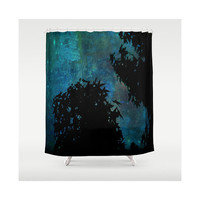 Blue, Trees, Sky, Stars - Decorative Shower Curtain-Machine Washable - Decor, Gift, New Home or Apartment - Made To Order - NSIJ#76