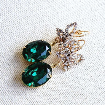 Bridal Earrings Emerald Green Foiled Oval Stone Rhinestone Gold Butterfly Dangle Earrings - Bella E25  Estate Style Wedding Jewelry