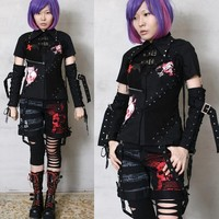 Metal Robot Gothic Punk Laceup Button Down Bat Appliqued Shirt Buckle Arm Warmer