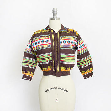 Vintage Seminole Patchwork Jacket - Native American Colorful Ric Rac Quilted Cropped Jacket - XS Extra Small