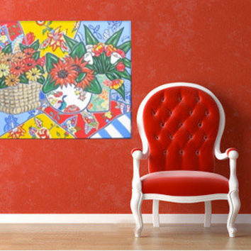 Red Still Life Painting  Acrylic on Canvas Country French Sunflowers