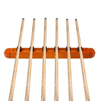 1 Pair Wood Billiard Pool Wall 6 Cue Stick Rack Holder Organizer Wall Mount for Snooker Ball Arm Cues Holder
