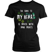 Vet Tech T Shirt - The road to my heart is paved with paw prints