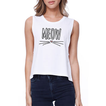 Meow Sleeveless Crop Tee Gift Ideas For Cat Lovers Women's Tank Top