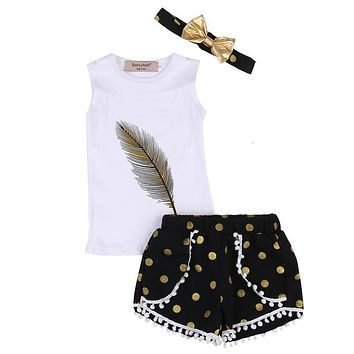 3PCS Baby Girls Summer Clothes Sets Feather Printing Vest Causal Tops+Dot Tassal Shorts Golden Headband Summer Clothes Sets