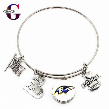 America Baltimore Ravens Team Football Sport Snap Buttons Adjustable Arrow Fashion Bracelet Bangles DIY Jewelry Heart Charms