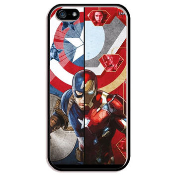 Captain America vs. Iron Man (Civil War) TPU+PC Case For Apple iPhone 5/5s, SE