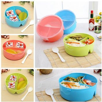 Portable Round Microwave Lunch Box Bento Picnic Food Container Storage + Spoon Randomly Color Kitchen Accessories