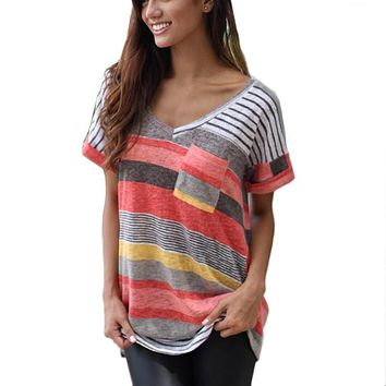 Fashion Short Sleeve O-neck T-shirt Women Tops Tee Shirt Femme Pocket Striped Shirt Plus Size - Beauty Ticks