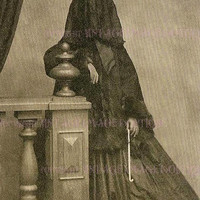 Lovely Antique Victorian Mourning Sepia Photo Portrait Of A Woman In  Deep Mourning Attire 5x7 Greeting Card