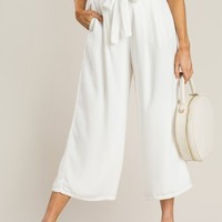 Gail White Lace Trim Culottes