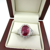 STUNNING GIA 3.94 Ct Brilliant Cut Ruby w/ 2.10ct Diamond 14k White Gold Ring