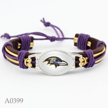 New Arrival Baltimore Ravens Football Team Leather Bracelet Adjustable Leather Cuff Bracelet For Man And Woman 10pcs/lot