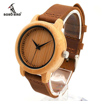 BOBO BIRD CaA10 Brand Design Women Wooden Bamboo Watch Real Leather Strap Quartz Watches for Women can Dropshipping