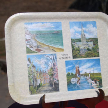 "Watchet Melamine Moulded 15"" Vintage TV Tray Views of Norfolk Made in UK"