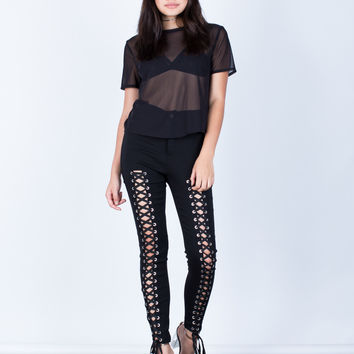 High Waisted Lace-Up Pants