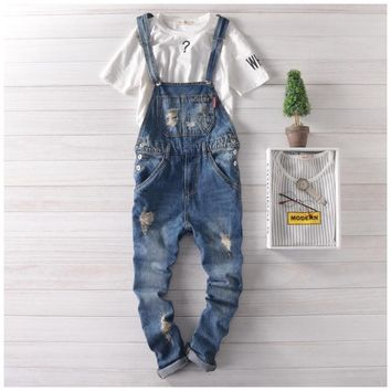 Men's Skinny Bib Overalls Jeans Fashion Slim Fit Ripped Jeans Overalls Denim Jumpsuits Pants Man Casual Cotton Jeans For Male