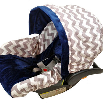 Chevron Grey Baby Seat Cover,  Baby Car Seat Cover, Infant Car Seat Covers, Boy Car Seat Covers, Chevron Navy Car Seat Covers by Ritzy Baby