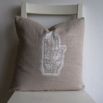Hamsa - Hand of Fatima - Sign for Good Luck 16 x 16 Linen Cushion Cover
