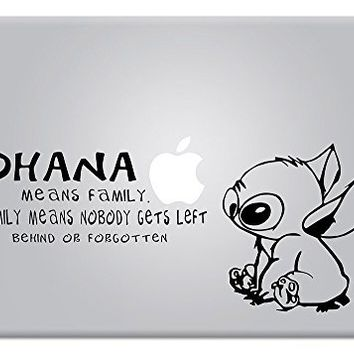 Stitch Quote Ohana Family Experiment 626 Lilo & Stitch Apple Macbook Decal Vinyl Sticker Apple Mac Air Pro Retina Laptop sticker