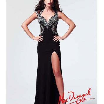 Mac Duggal 2014 Prom Dresses - Black & Peacock Jersey Prom Gown