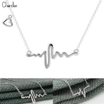 Chandler Silver Heart Beat Necklaces & Pendants For Women Romantic Love Charm Link Chain Lovers Promise 925 Sign Fashion Jewelry