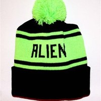 ALIEN Cuffed Knit Beanie Cap Black and Neon Green - One Size