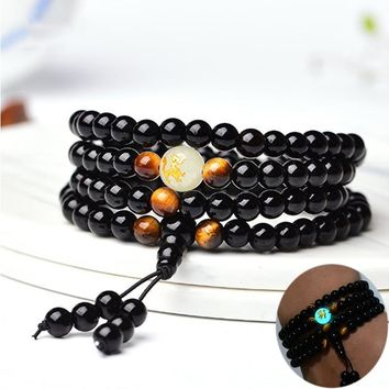 Marcatsa Dragon Black Buddha Beads Bangles & Bracelets Ethnic Glowing in the Dark Bracelet for Women Men Handmade Jewelry 2018
