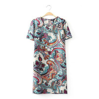 Round-neck Short Sleeve Print Casual Stylish Skirt One Piece Dress [4917813124]