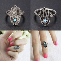 Women Jewelry Hand Hamsa Fatima Finger Rings