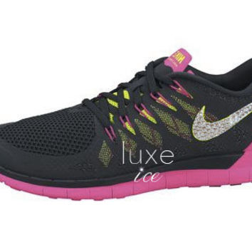 NIKE Free 5.0 2014 running shoes w/Swarovski Crystals - Black/Pink/Neon