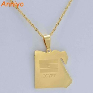 Anniyo (Pendant Size 2.8cm x 2.6cm) Country Egypt Map & Flag Necklace Pendant Gold Color  5.00% Off Auto renew