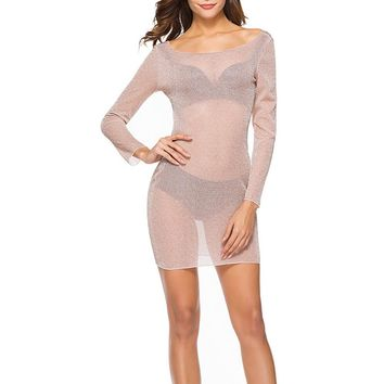 Summer Women Sequin Bodycon Long Sleeve Backless See Through Sheer Evening Party Mini Dress Hot Fishnet Sexy Beach Dress