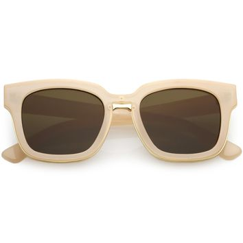 Fashion Square Sunglasses Horn Rimmed Chunky Arms Neutral Flat Lens 50mm