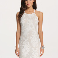 White Spaghetti Strap Backless Lace Embroidered Bodycon Dress