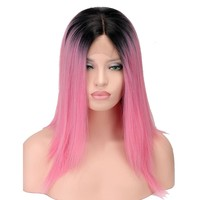 Black Pink Ombre Synthetic Lace Front Wig