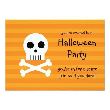 Halloween Party Invitations Pirate Skull