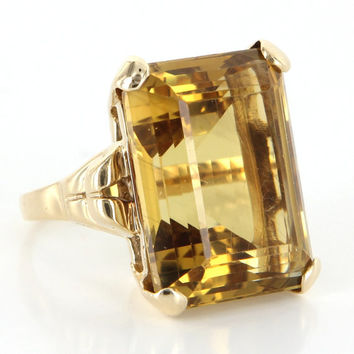 Vintage Deco Retro 14 Karat Yellow Gold Large 28 Carat Emerald Cut Citrine Cocktail Ring
