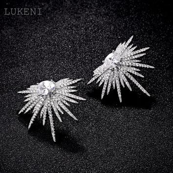 New Arrived Elegant White Color Out micro paved  Zircon Exaggerated Sunflower Stud Earrings For Women Fashion Jewelry
