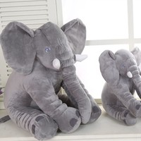 40cm/60cm Height Plush Elephant Toy Baby Sleeping Back Cushion Soft Stuffed Pillow Elephant Doll Newborn Playmate Doll Kids Gift
