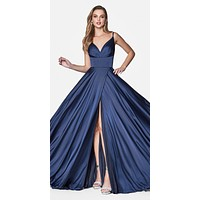 Floor Length Spaghetti Strap Navy Blue Prom Dress V Neck