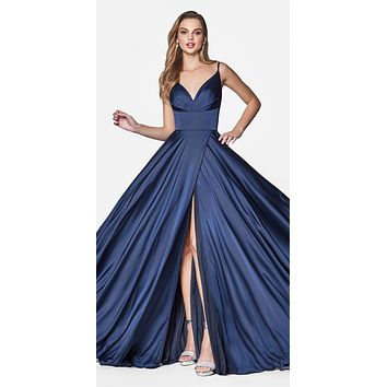 bff604fb849 Floor Length Spaghetti Strap Navy Blue Prom Dress V Neck