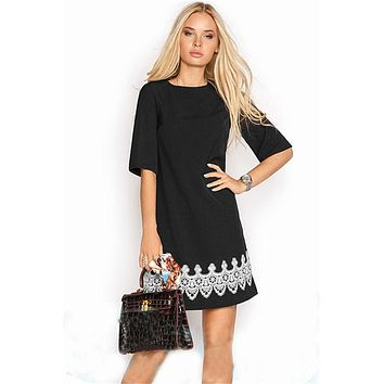 New Arrival Summer Dress 2018 Women Fashion Casual Mini Lace Dress Black White Short Sleeve O-Neck Beach T Shirt Dresses