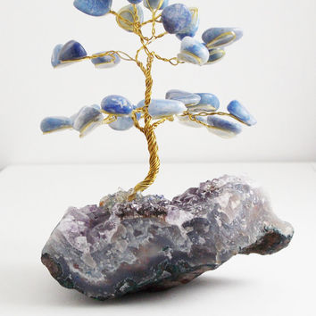 Wire Tree With Blue Stones On Top Of  amethyst geode Hand Made ( Brazilian Art )