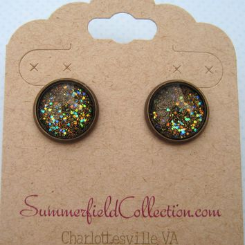 "Antiqued Bronze-Tone Glitter Glass Galaxy Stud Earrings 1/2"" Round Black"