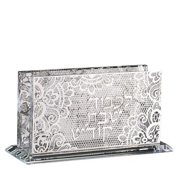 Crystal match box holder For Long Matches Floral Silver 5.5x2x3""