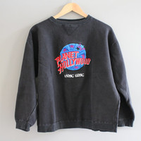 Planet Hollywood Black Sweater / 90s / Minimalist / Hong Kong/ /Black / Patch Work /  Vintage / Pullover / Size S - M