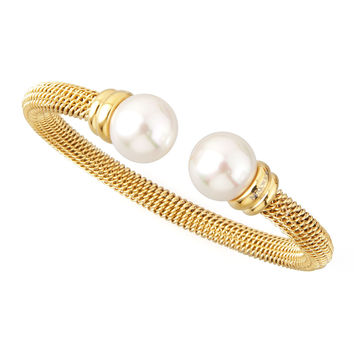 Pearl-Cap Bangle, Yellow Gold - Majorica