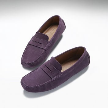 Classic Penny Loafers, purple suede